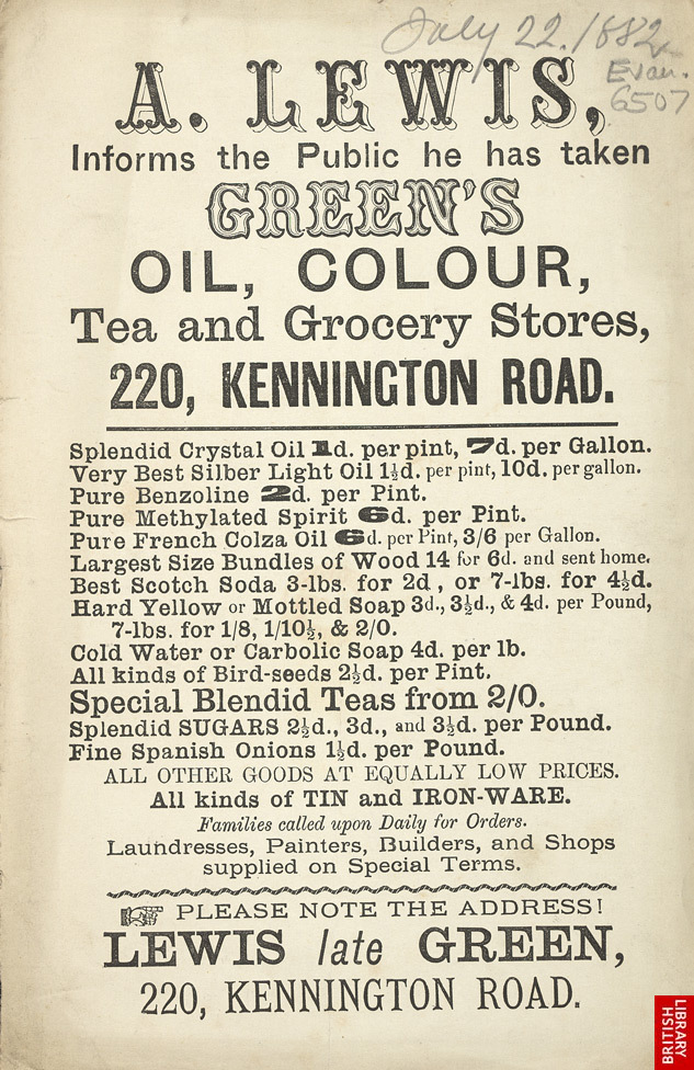 Advert For A. Lewis, Grocer